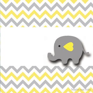 Para hacer invitaciones, tarjetas, marcos de fotos o etiquetas, para imprimir gratis de Elefante Bebé en Amarillo y Gris.