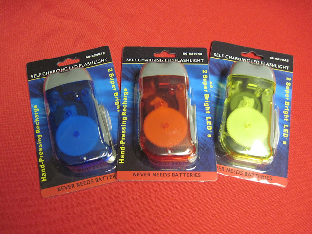 Manual recharging flashlights for Operation Christmas Child shoeboxes.