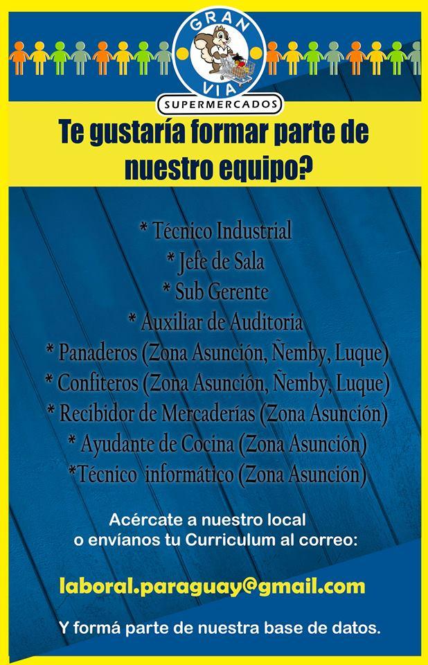 Super gran v a busca personal para varios puestos bolsa de trabajo paraguay empleos - Ofertas de empleo jefe de cocina ...