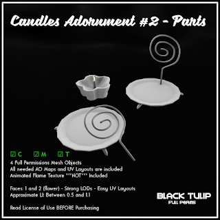 [Black Tulip] Mesh - Candles Adornment #2 - Parts