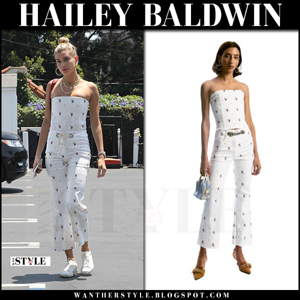 Hailey Baldwin in white floral print corset top, white floral print cropped trousers miaou what she wore june 22 2017
