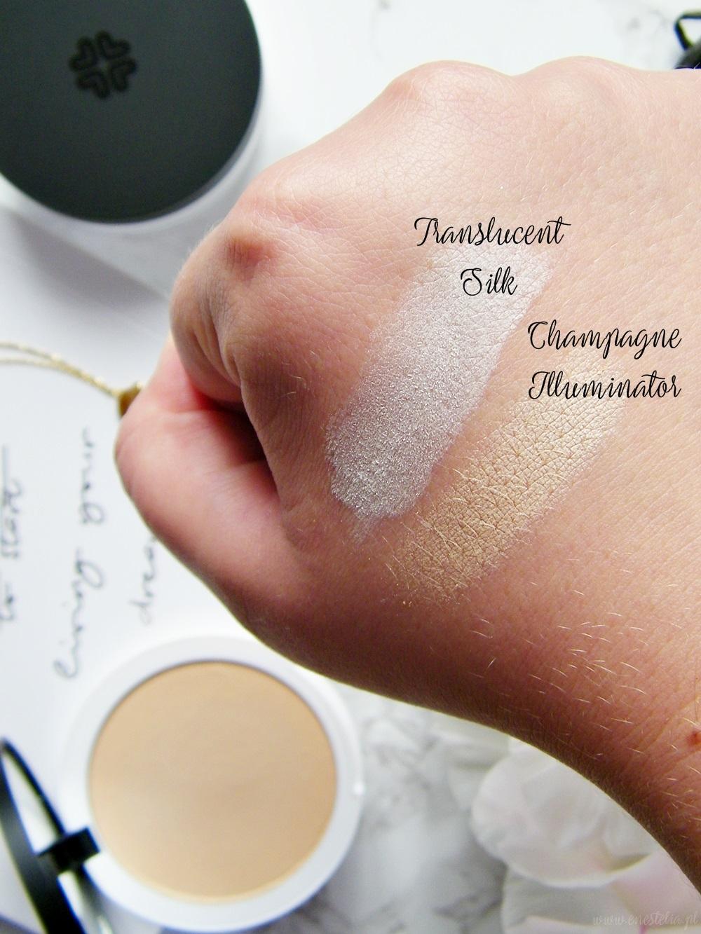 Lily Lolo | Jedwabny puder sypki Translucent Silk i Naturalny prasowany rozświetlacz Champagne Illuminator (swatche)