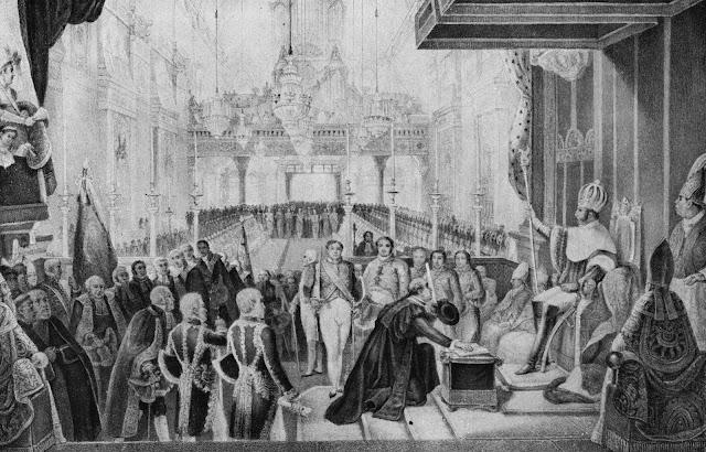 Coroação de D. Pedro I, Imperador do Brasil, vendo-se à direita o bispo D. José Caetano [in Debret, Jean-Baptiste, Viagem Pitoresca e histórica ao Brasil, p.273].