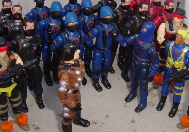 2002 Funskool Major Bludd, 2004 Cobra Trooper, Desert Scorpion, 1984 Cobra Commander, Skeres