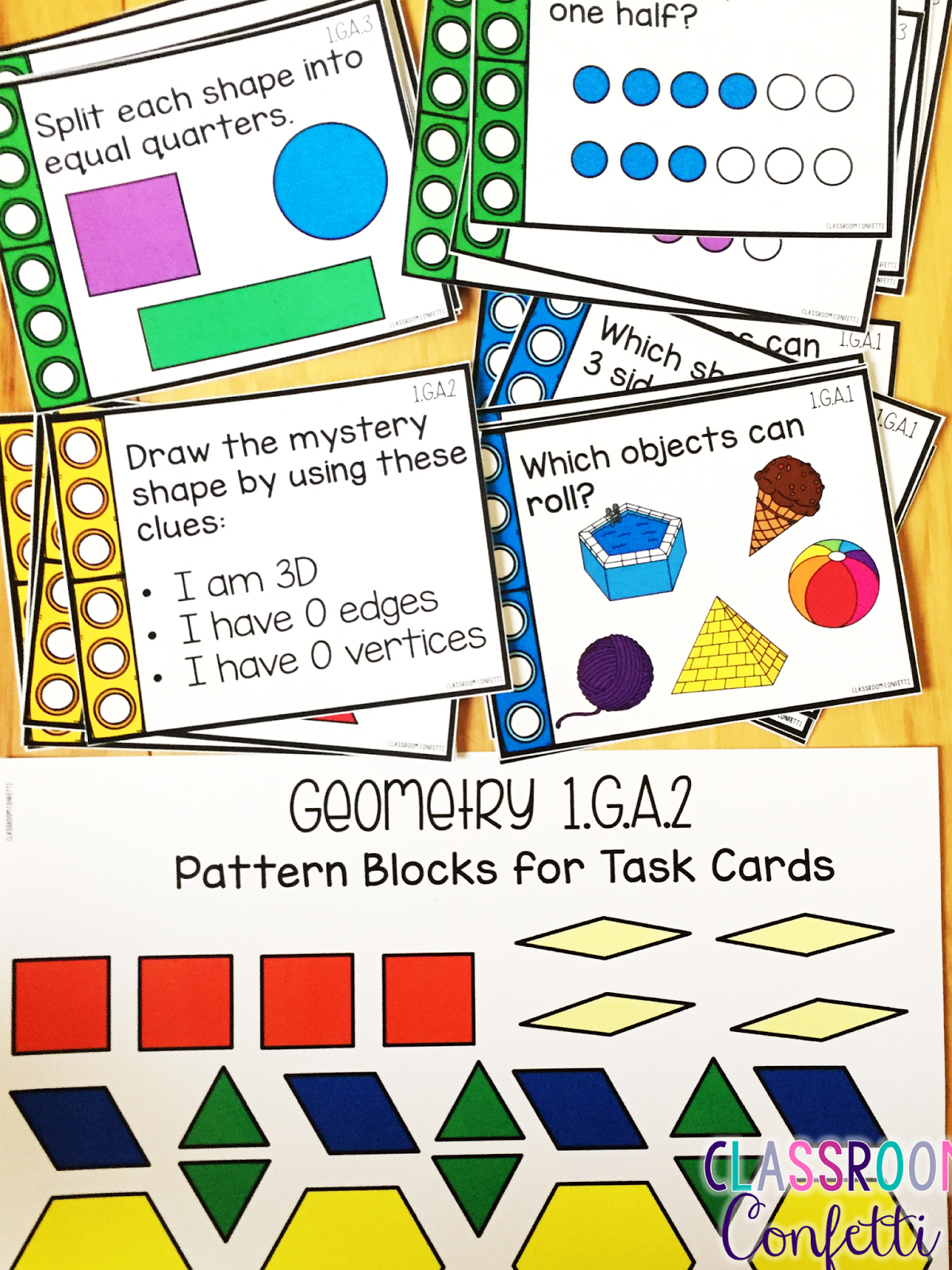 You can find these First Grade Geometry Task Cards here.