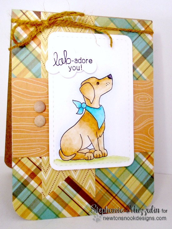 Labrador dog card by Stephanie Muzzulin | Fetching Friendship dog stamp set by Newton's Nook Designs #newtonsnook