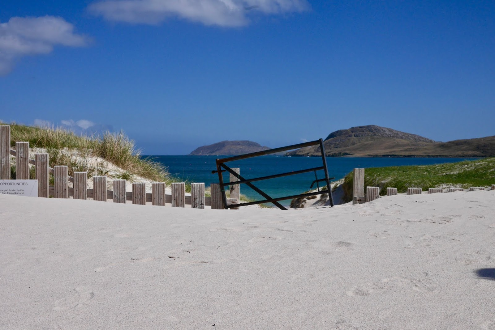 Vatersay Beach, Almost Chic and Cal McTravels during their Scottish Island Hopping in the outer Hebrides
