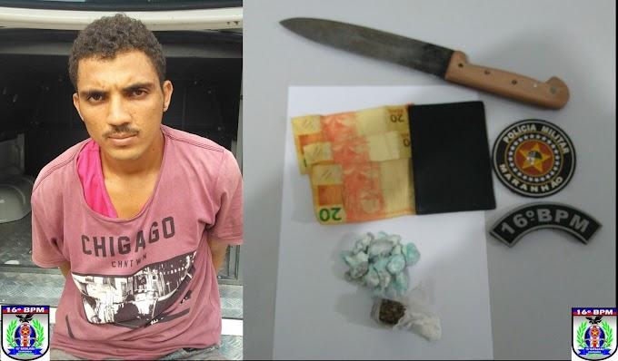 Suspeito de praticar homicídio é preso com drogas em Palestina