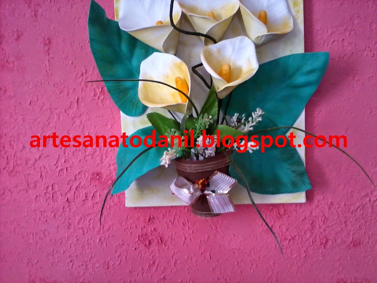 Artesanato Da Nil Quadro Com Tela Com Flor De Eva Copo De