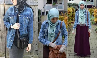 Pakai Jaket Denim Untuk Hijaber 004