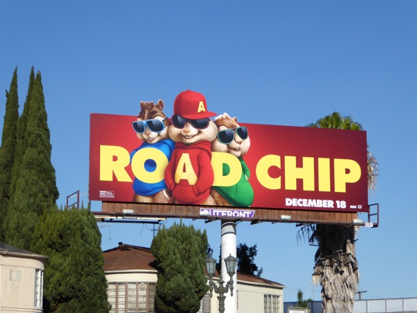 Alvin Chipmunks Road Chip movie billboard