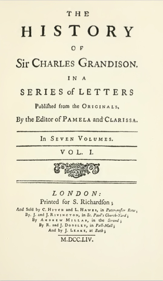 The History of Sir Charles Grandison volume 1 title page