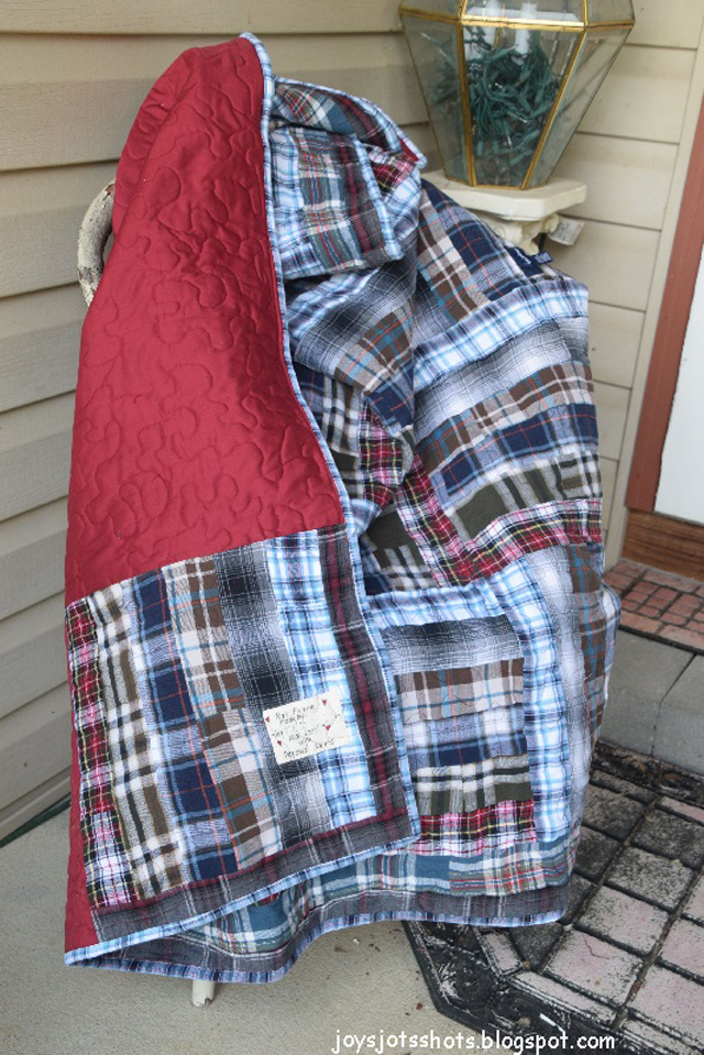 Learn how to make a six strip rail fence quilt from flannel shirts. Memory quilt tutorial by Joys Jots, Shots & Whatnots