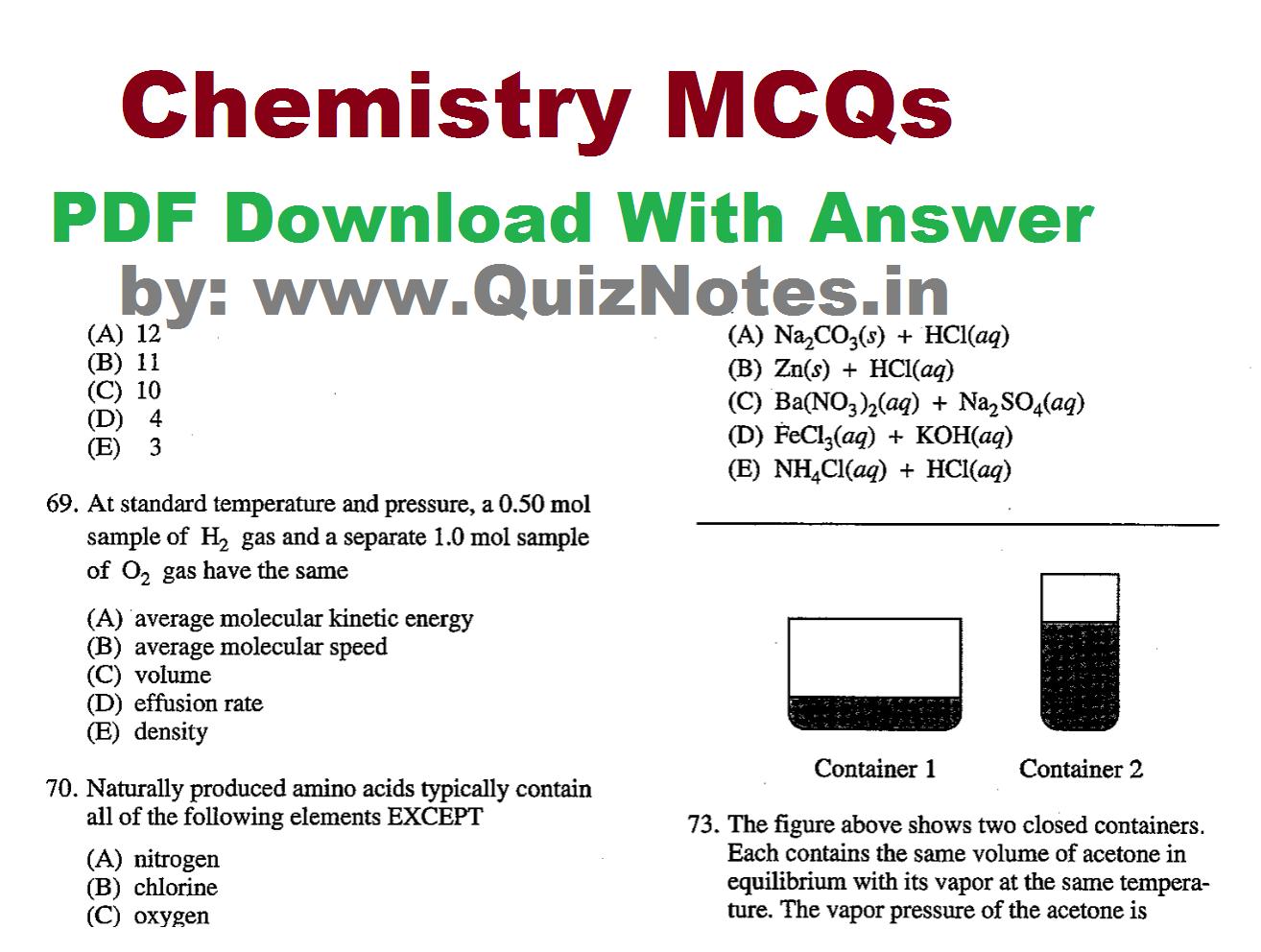 Chemistry multiple choice