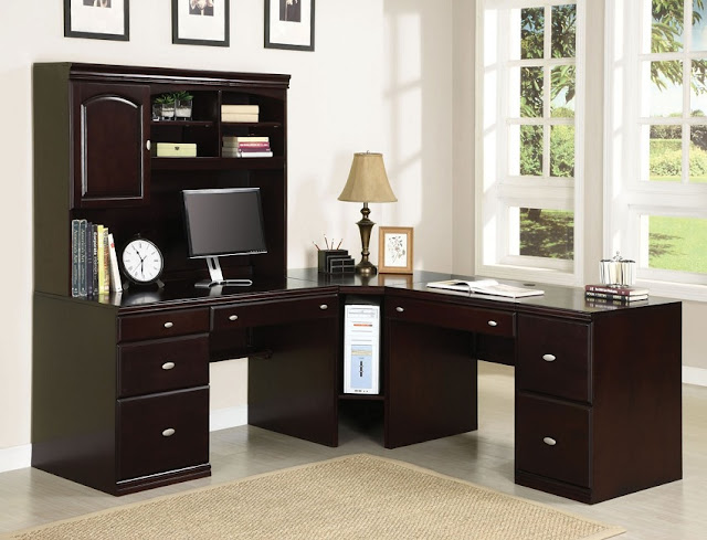 best dark wood corner home office desk arrangements design ideas