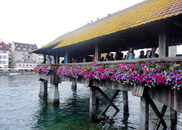 Close up of flowers on the Chapel Bridge, Lucerne, Switzerland