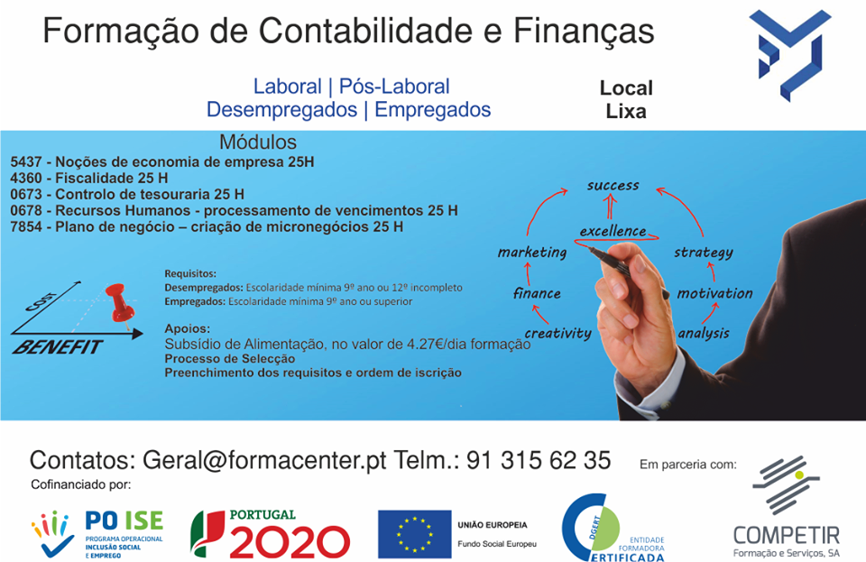 Curso financiado de Contabilidade e Finanças na Lixa