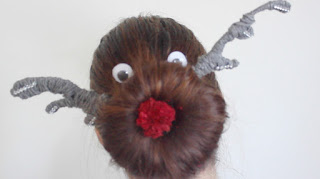 christmas xmas ugly sweater reindeer sock bun