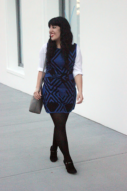 Alice + Olivia Black and Blue Wool Dress SF Winter Office Style