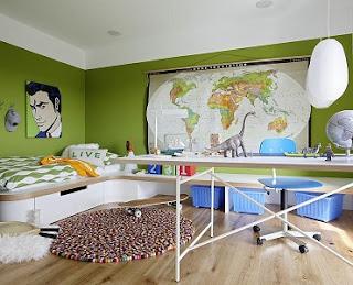 Dormitorio azul verde