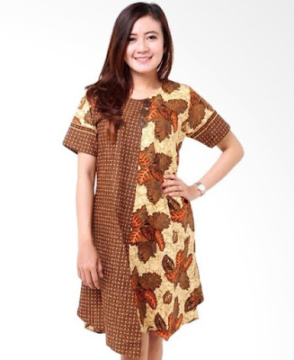 Model Dress Batik Kombinasi Brokat modis