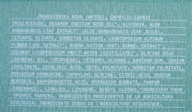 Ingredientes Edelweis bio serum