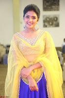 Actress Eesha in Yellow Choli Blue Ghagra at Darshakudu music launch 039.JPG