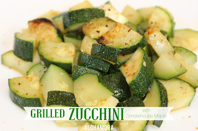 Grilled Zucchini with Smokehouse Maple Seasoning.  It is absolutely delicious, and a perfectly healthy, simple, and flavoful side dish vegetable for any barbeque/bbq grilling meal.  Alohamora Open a Book http://www.alohamoraopenabook.blogspot.com/ dinner recipe, party grill, easy side dish healthy no carb, paleo tasty delicious yummy