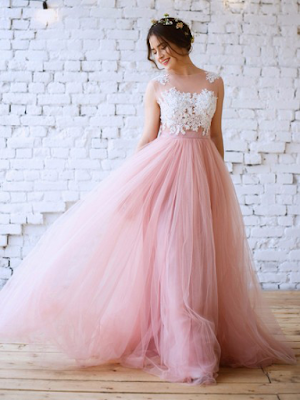 Princess Scoop Neck Pink Tulle with Appliques Lace Floor-length New Arrival Prom Dresses