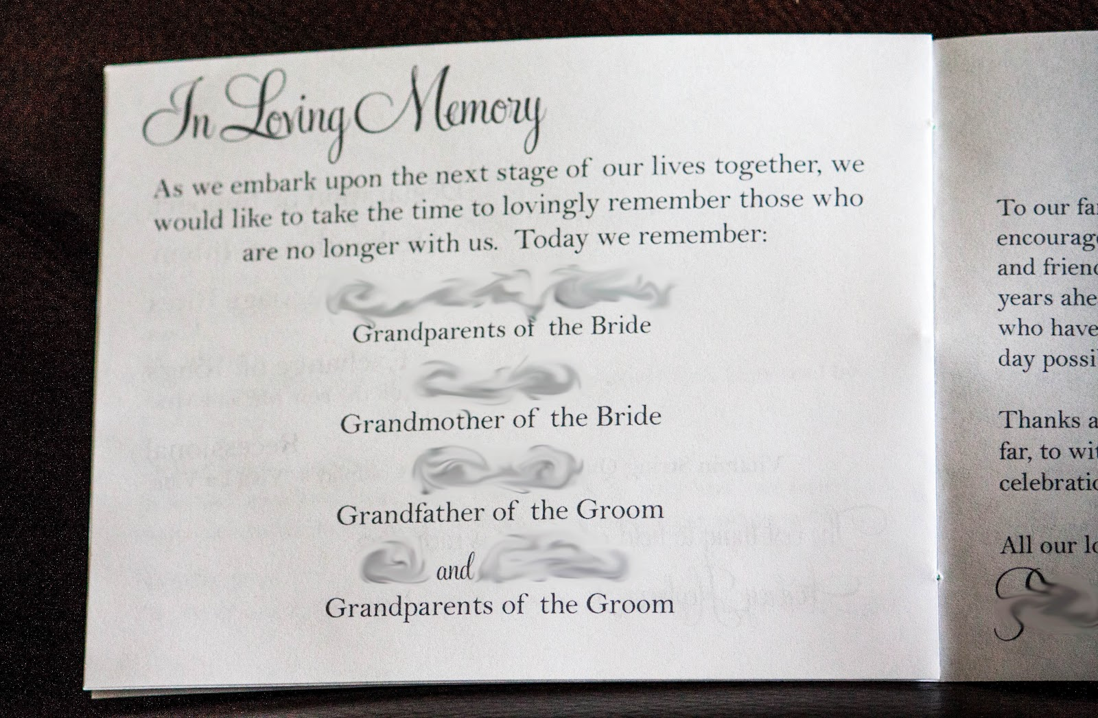 Love Quotes Wedding Programs In Loving Memory For Weddings Quotesgram