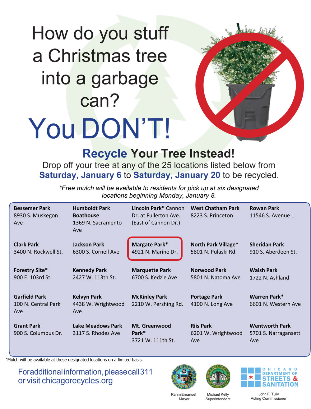 you can read more about the program at recycle by city the official flyer for the program is below - Chicago Christmas Tree Recycling