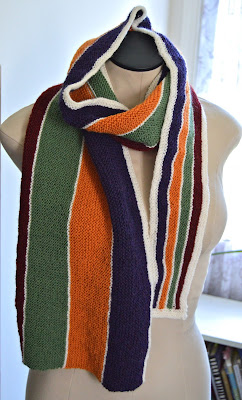 hand knit striped and asymmetrical scarf for sale at https://www.etsy.com/shop/jeanniegrayknits