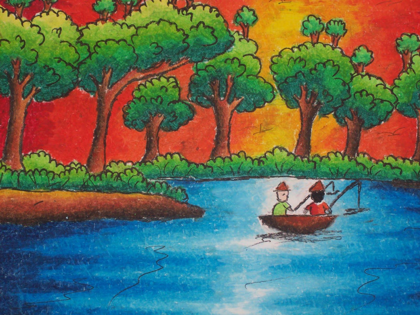 Lukisan Alam Menggunakan Krayon  Koleksi Gambar HD