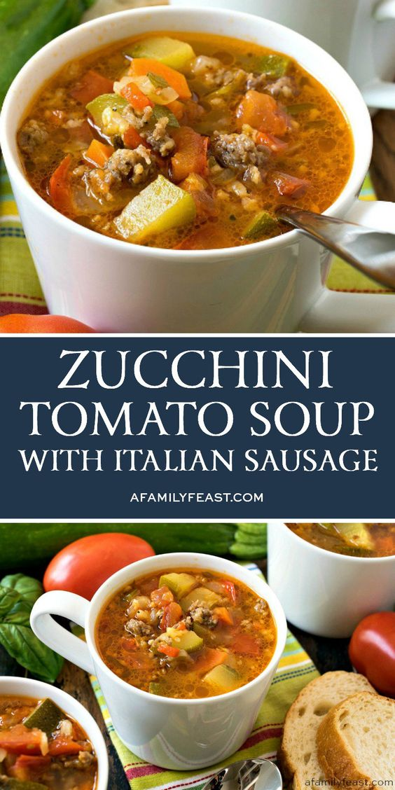 This Zucchini Tomato Italian Sausage Soup is a delicious way to use up all of those fresh garden vegetables!