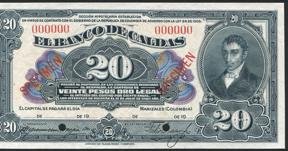 Colombia 20 Pesos banknote El Banco de Caldas|World Banknotes & Coins Pictures | Old Money ...