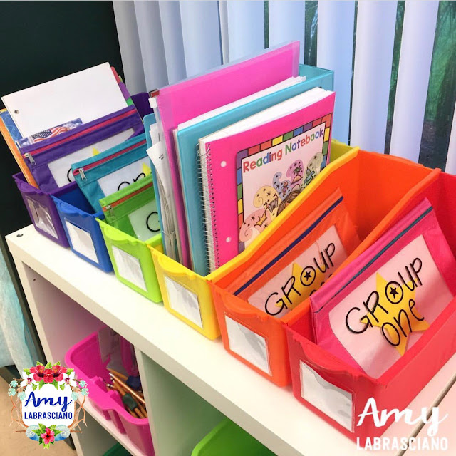 One very simple yet effective ways of organizing your guided reading area could be color coding. Color coding can help you to keep materials together so when the classroom lessons start to get busy and students are moving around with your materials, you can put them back in seconds.   Works perfectly in the elementary classroom.