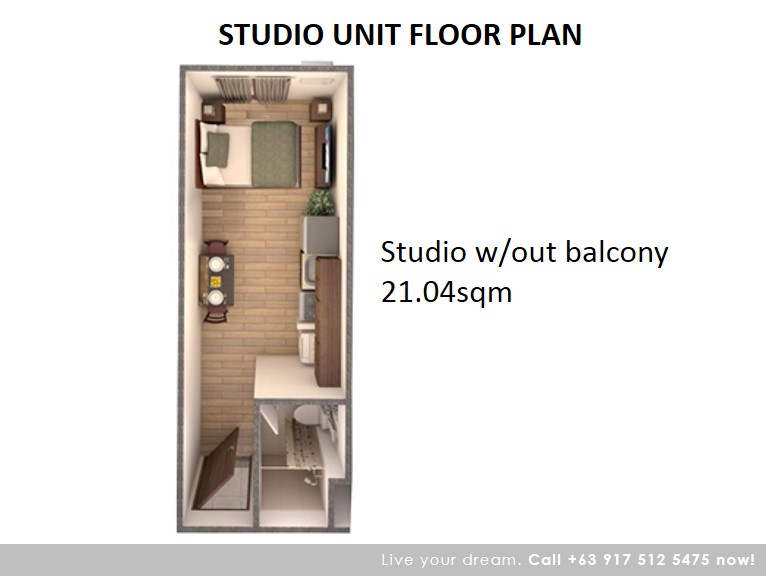 Floor Plan of Studio 21.04 Sqm - Camella Condo Homes Taguig | Condo for Sale Taguig City