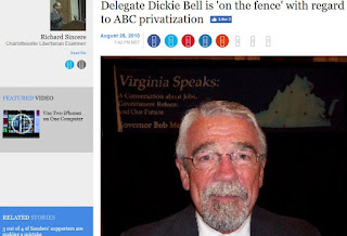 Dickie Bell Virginia politics Examiner.com ABC privatization liquor Harrisonburg