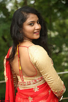 Akshara in Red Saree Golden Choli at LV Movie Makers Production No 1 Movie Opening ~  Exclusive 105.JPG