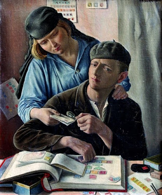 Painting Le Philateliste by François Barraud 1929