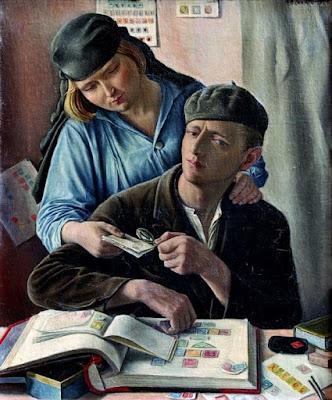 Painting Le Philateliste by François Barraud 1929