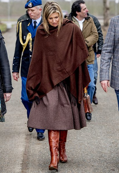 Queen Maxima wore Natan Dress, Uterque bag, Queen Maxima wore Uterque Leather boots