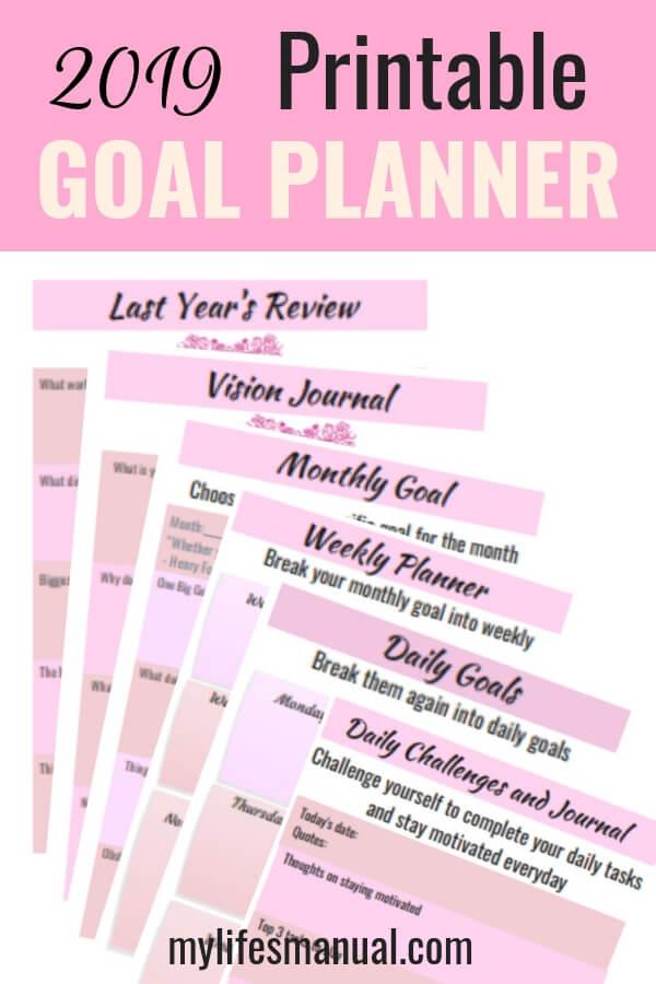 2019 goal planner printable