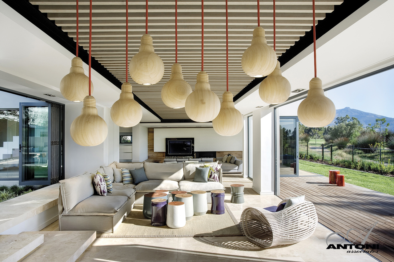 Picture of wooden lamps hanging from the ceiling in the living room