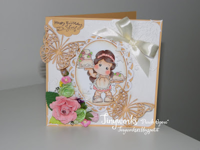 "Card White and Peach "" DT Simply Magnolia"""