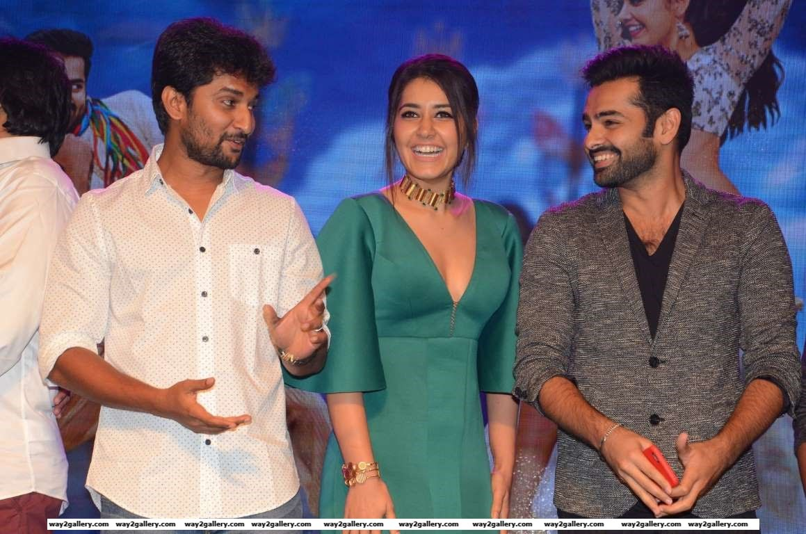 Nani Raashi Khanna and Ram are all smiles at the audio launch of Telugu film Hyper