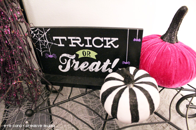trick or treat sign, pink pumpkin, velvet pumpkin, target finds