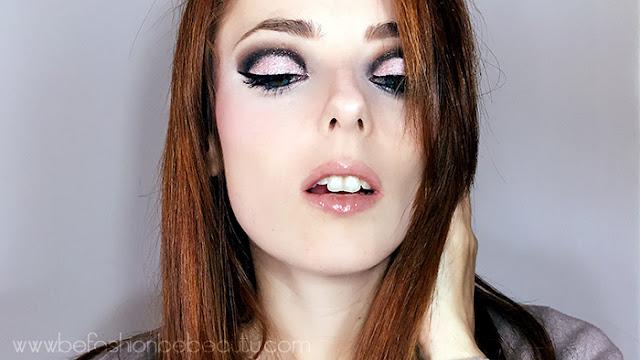 Maquillaje de noche con brillo.