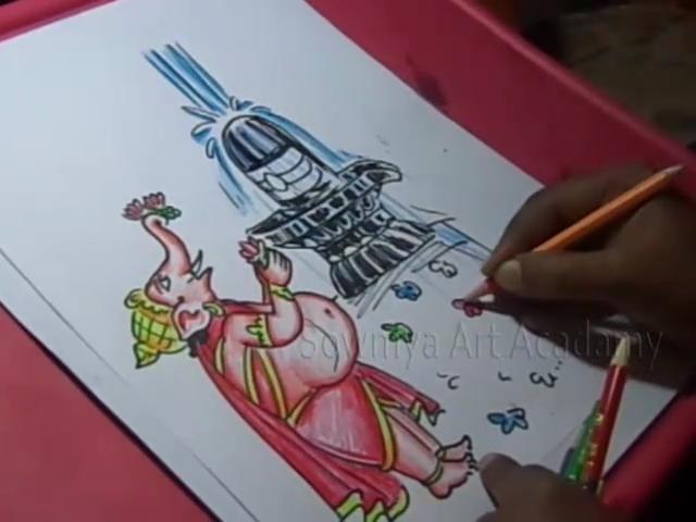 KIDS CARTOON DRAWINGS: Lord Ganesha Shiva Lingam Puja Color