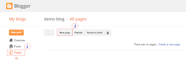 After visiting blogger dashboard, go to Pages and click on New Page button